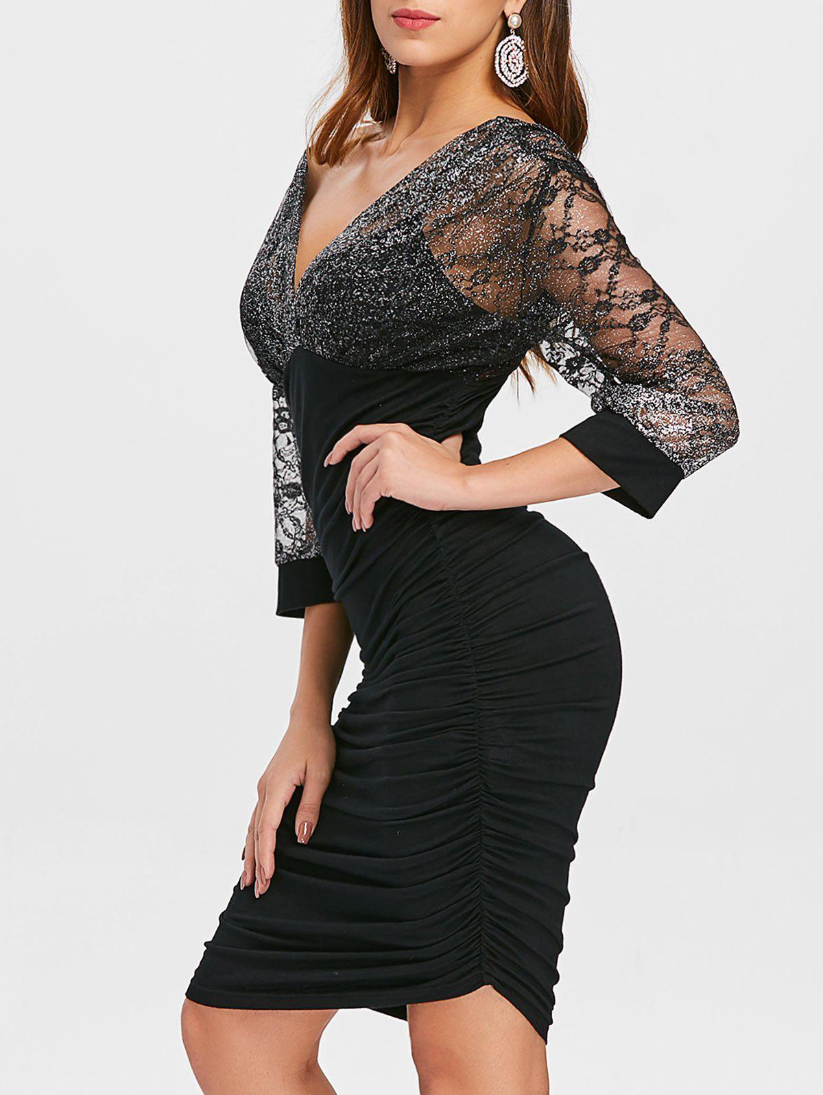 Trendy Plunge Glitter Ruched Party Dress