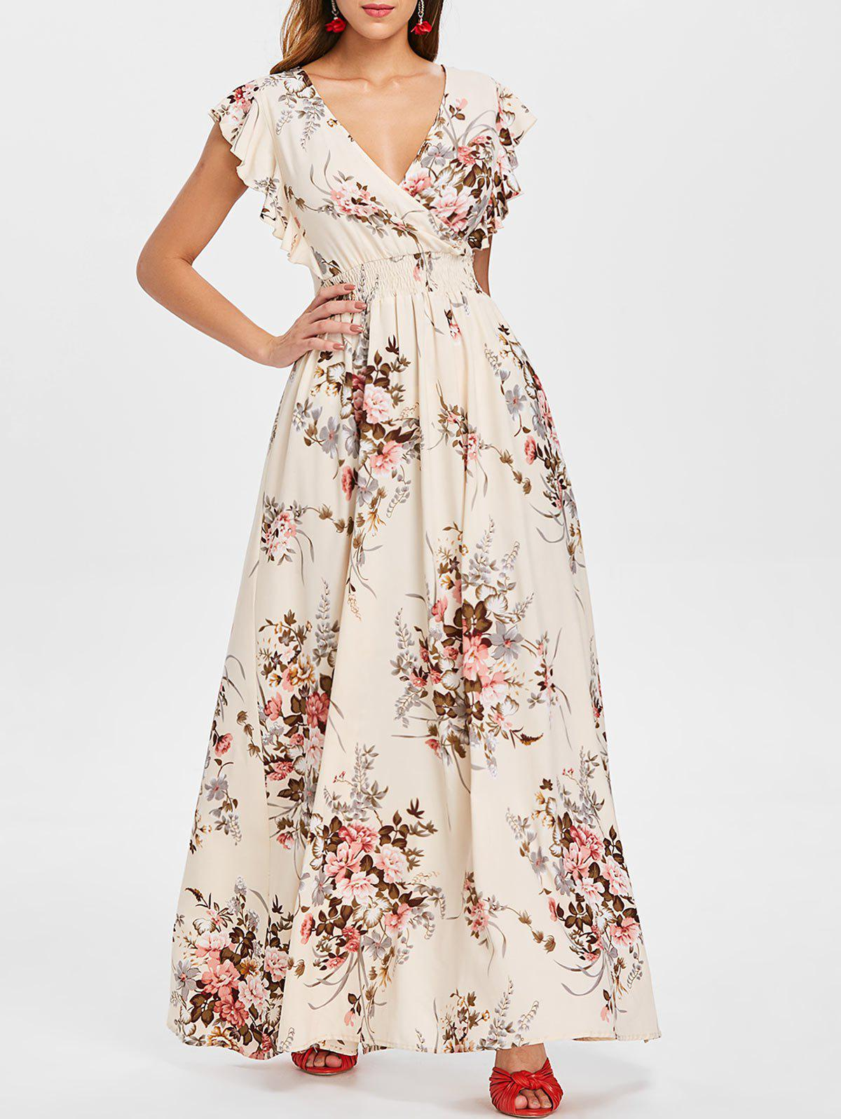 Latest Floral Print Cut Out Back Long Dress
