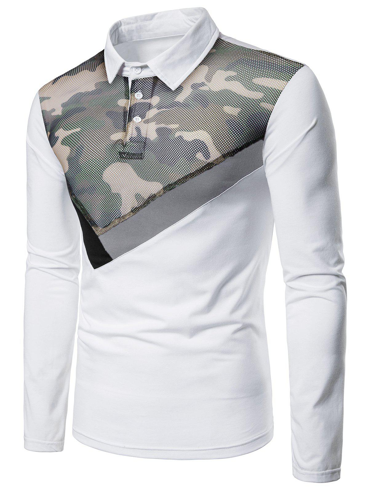 Store Top Mesh Camo Fabric Stripes Patch Polo Shirt