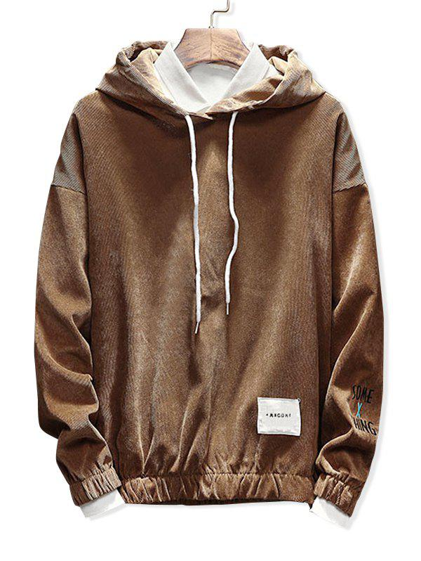 Shops Edge Elastic Patch Detail Corduroy Hoodie
