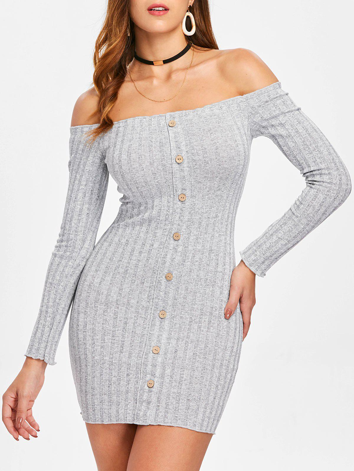 Outfits Ribbed Long Sleeve Off Shoulder Dress