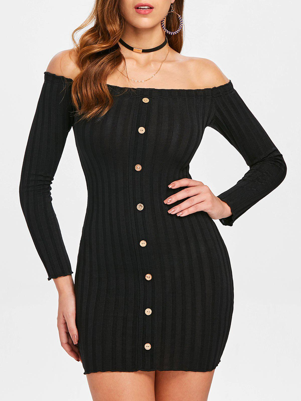 db0313706e4 45% OFF] Ribbed Long Sleeve Off Shoulder Dress | Rosegal