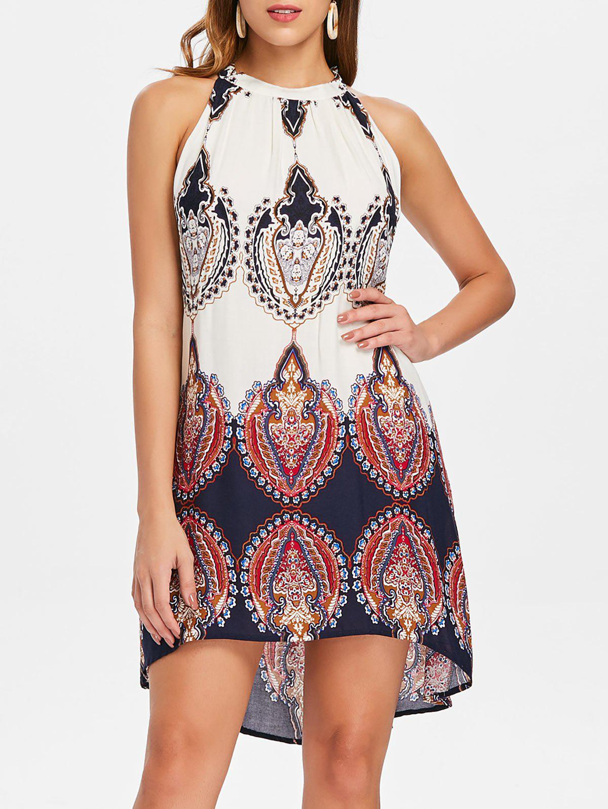 Cheap Bohemian Ethnic Print Swing Dress