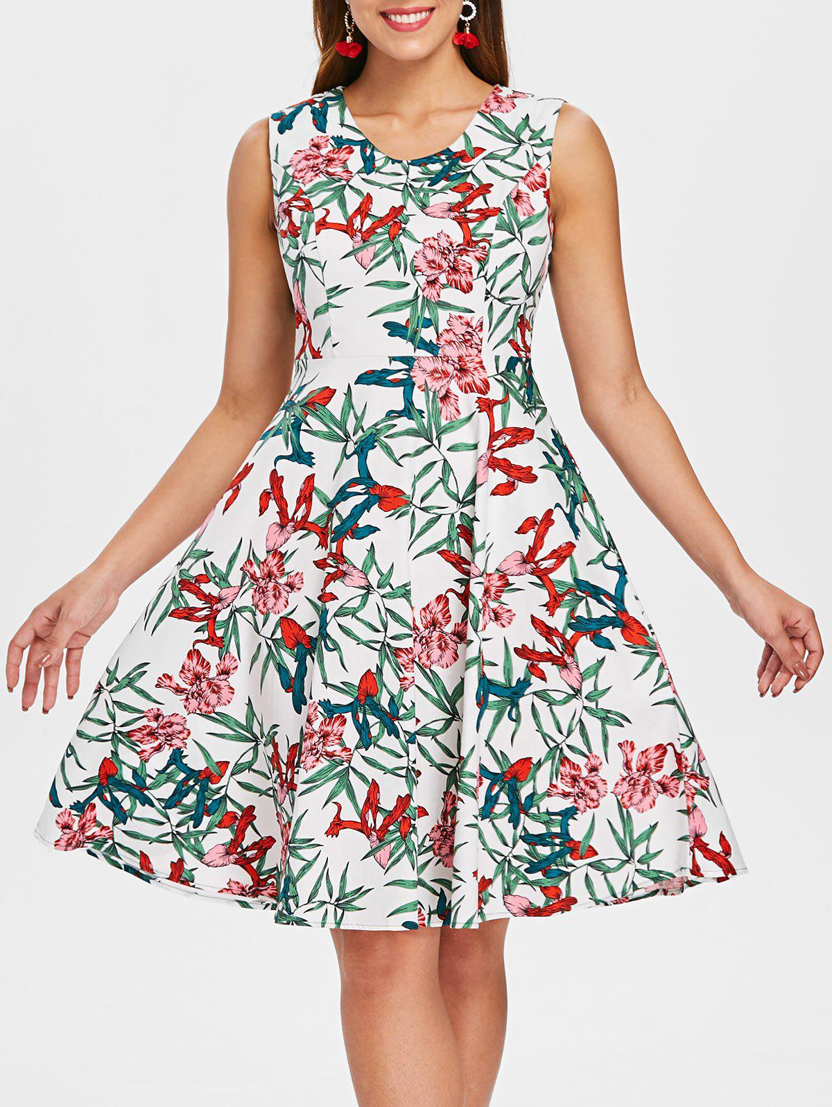 Store Sleeveless Floral Print A Line Dress
