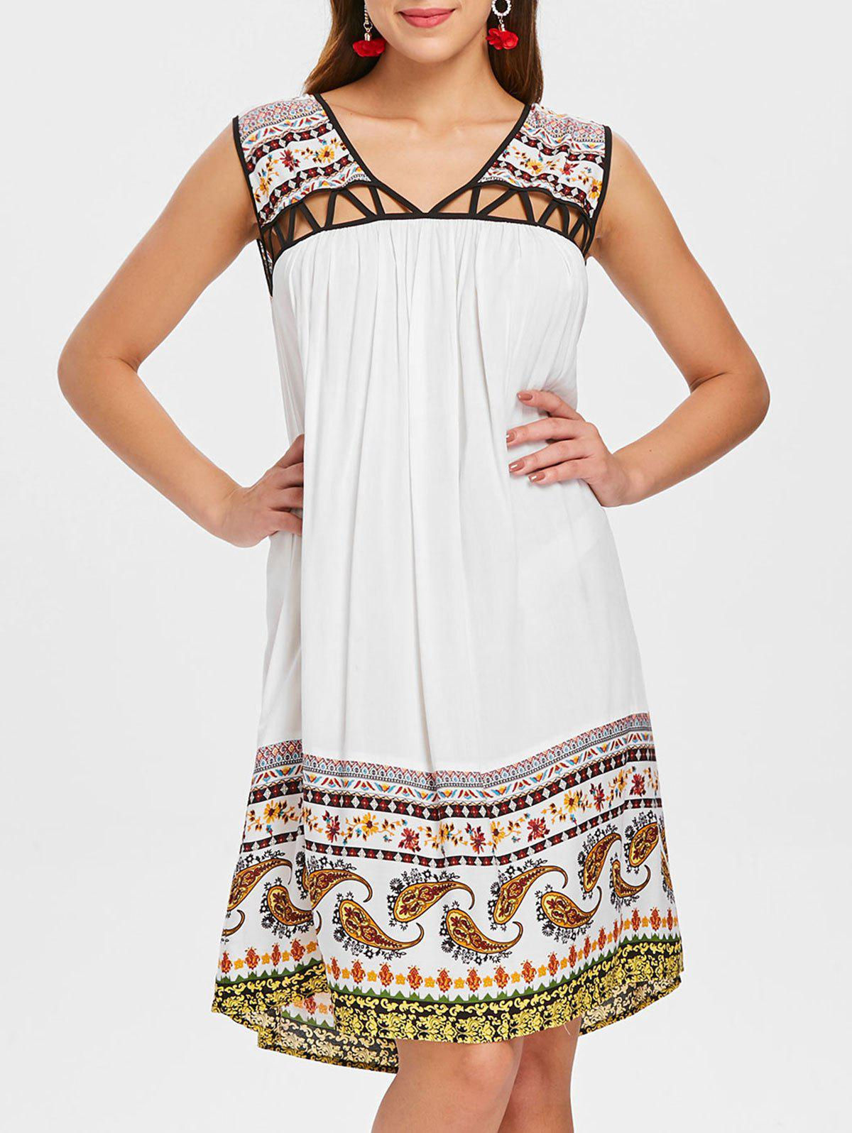 Store V Neck Cut Out Tribal Print Straight Dress