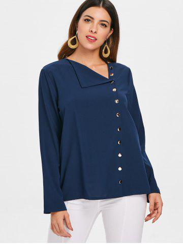 Skew Neck Buttoned Blouse