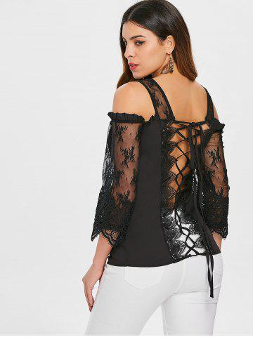 See Through Lace Up Cold Shoulder Blouse