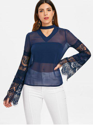Cut Out Lace Sleeve Blouse