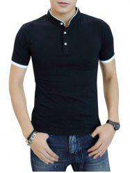 Contrast Color Short Sleeve Polo Shirt -