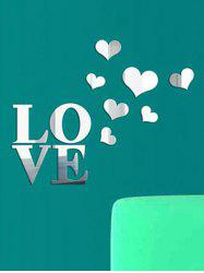 LOVE Hearts Pattern Removable Mirror Wall Stickers -
