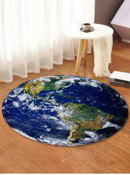 Earth World Map Printed Round Area Mat -