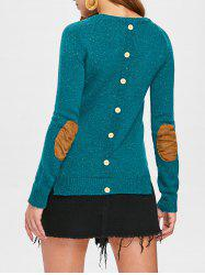Stylish Back Buttoned Elbow Spliced Pullover Sweater For Women -