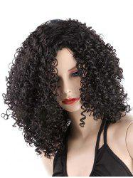 Medium Inclined Bang Kinky Curly Synthetic Wig -