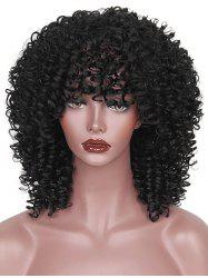 Medium Full Bang Afro Kinky Curly Synthetic Wig -