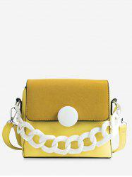 Splicing Flapped Plastic Chain Crossbody Bag -