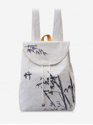 Chinese Bamboo Print Canvas Backpack -