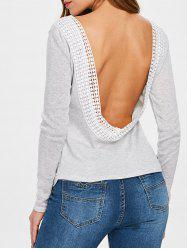 Long Sleeve Open Back T Shirt -