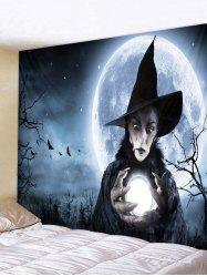 Halloween Woman Witch Printed Wall Hanging Tapestry -