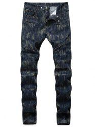 Distressed Five Pockets Patchwork Biker Jeans -