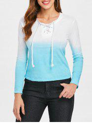 Ombre Lace Up T-shirt -