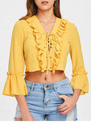 Ruffle Insert Lace Up Crop Top -