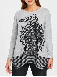 Ethnic Print Striped Insert Sweater -