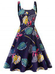 Leaf Print Square Neck A Line Dress -