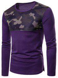 Top Camo Mesh Patchwork Long Sleeve T-shirt -