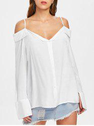 Flared Sleeve Cold Shoulder Blouse -