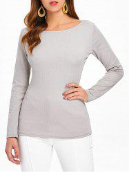 Long Sleeve Wrap Back Top -