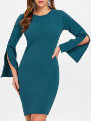 Long Flared Sleeve Sheath Dress -