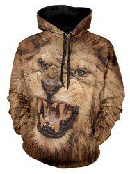 3D Angry Lion Print Drawstring Hoodie -