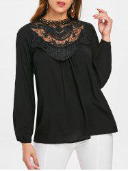 Lace Crochet Long Sleeve Top -