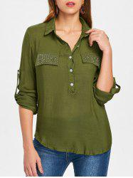 Button Insert Rhinestone Pockets Shirt -