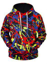 3D Graffiti Print Kangaroo Pocket Soft Hoodie -