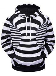 3D Contrast Stripes Print Kangaroo Pocket Soft Hoodie -
