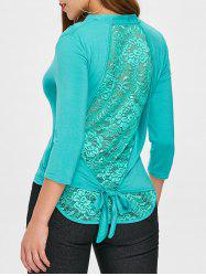 Asymmetrical Floral Lace Back Knot Tee -
