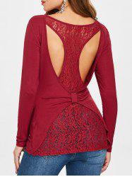 Back Cut Out Floral Lace Racerback Tee -