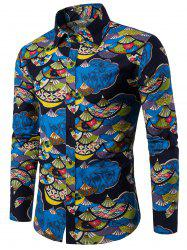 Chinese Fan Printed Button Up Shirt -