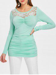 Full Sleeve Lace Insert Ruched T-shirt -