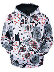 Poker Cards Print Kangaroo Pocket Long Sleeve Hoodie -