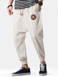 Graphic Embroidery Detail Applique Flatlock Seams Jogger Pants -