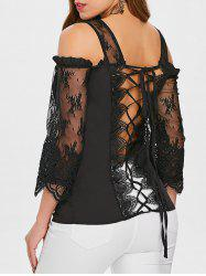 See Through Lace Up Cold Shoulder Blouse -