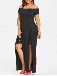 Plus Size Lace Panel Off Shoulder Dress -