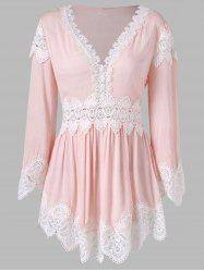 Lace Panel Full Sleeve Skirted Blouse -