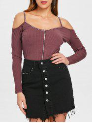 Cold Shoulder Rhinestones Trim Knitwear -