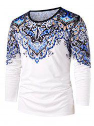 Ethnic Flower Paisley Print Round Neck T-shirt -