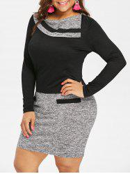 Plus Size Long Sleeve Marled Bodycon Dress -