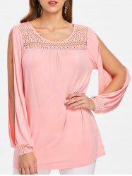 Openwork Yoke Plus Size Slit Sleeve T-shirt -