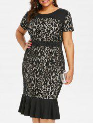 Plus Size Lace Panel Mermaid Dress -